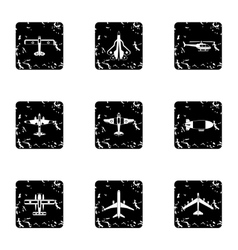 Aircraft icons set grunge style vector