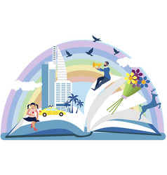 an open book from which story is visible in vector image