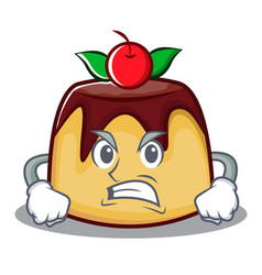 Angry pudding character cartoon style vector