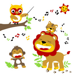 Animals singing together in the jungle lion tiger vector