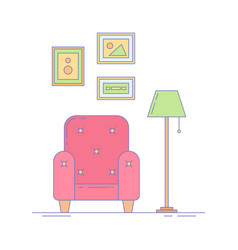 Armchair picture frames and lamp interior vector