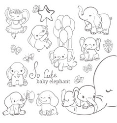 baelephant collection over white background vector image