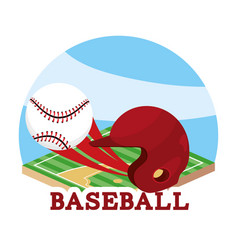 Baseball sport game and helmet with ball vector