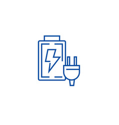 battery charger line icon concept battery charger vector image