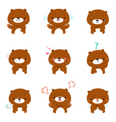 bear with different emotions cartoon vector image