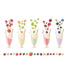 Berry milk shake isolated set vector