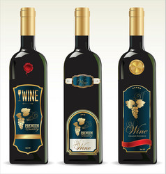 black bottles for wine with gold and blue labels vector image