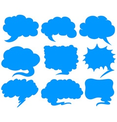 Blue speech bubbles in different shapes vector