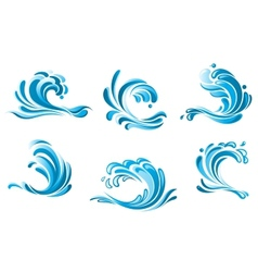 Blue water waves symbols vector