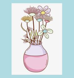 Bouquet of flowers in mason jar vase vector