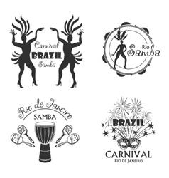 brazilian carnival big set logo and emblem vector image