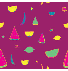 bright lovely pattern with hand drawn fruits vector image