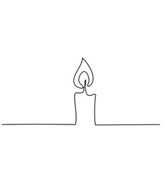 burning fire candle continuous one line drawing vector image