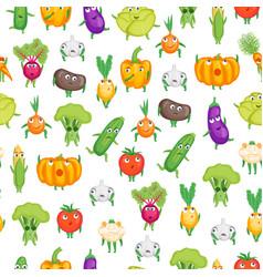 cartoon fresh healthy vegetables characters vector image