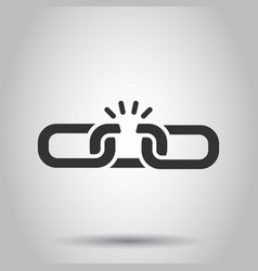 Chain broken icon in flat style network hyperlink vector