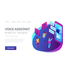Chatbot technology isometric 3d landing page vector