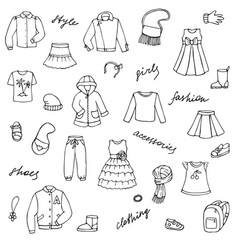 Childish girl clothes shoes and lettering doodle vector