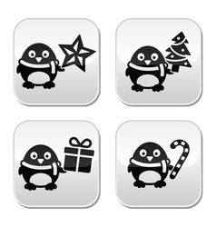 Christmas cute penguin buttons set vector image