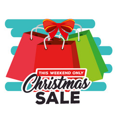 christmas sale label with shopping bags vector image