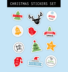 christmas winter stickers set vector image