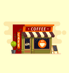 Coffee shop house cafe building vector