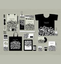 Corporate flat mock-up template floral design vector
