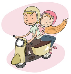 Couple riding riding scooter vector