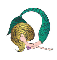 cute hand drawn young mermaid vector image
