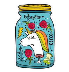 Dead unicorn head in the jar vector