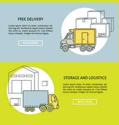 delivery and storage horizontal banner templates vector image