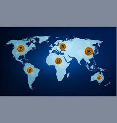 digital currency bitcoin on world map vector image