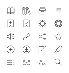 E-book reader thin icons vector image