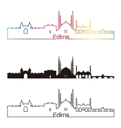 Edirne skyline linear style with rainbow vector