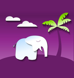 Elephant in ultraviolet jungle paper art style vector