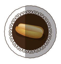 Emblem color hot dog bread icon vector