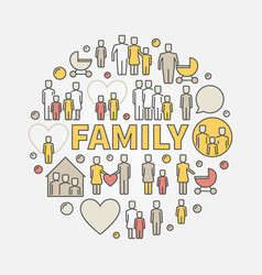 family colorful vector image
