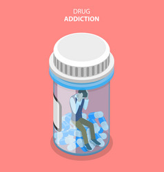 Flat isometric concept drug abuse and vector