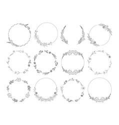 floral frames set line art vector image