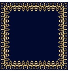 Frame with gold pattern on a blue background vector image