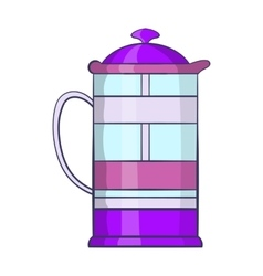 French press coffee maker icon cartoon style vector image