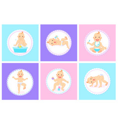 funny babathing with duck toy kids child set vector image