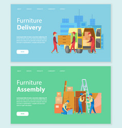 Furniture delivery and assembly workers website vector