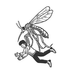 giant mosquito kidnaps human sketch engraving vector image