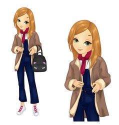 Girl in denim overalls with backpack vector