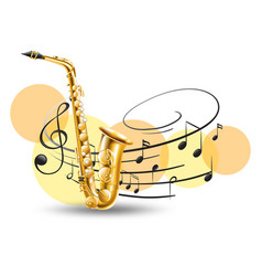golden saxophone with music notes in background vector image