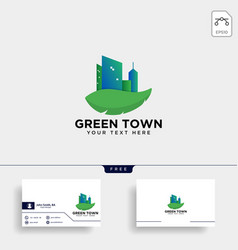 Green city agriculture logo template icon element vector
