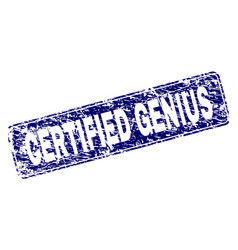 Grunge certified genius framed rounded rectangle vector