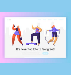 Gym fitness character landing page set sport vector