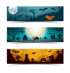 halloween night banners set vector image