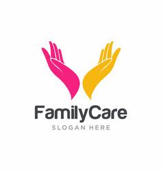 Hand care logo template care icon vector